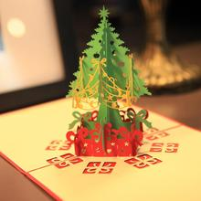 Merry Christmas Tree Vintage 3D laser cut pop up paper handmade custom greeting cards Christmas gifts souvenirs postcards(China (Mainland))