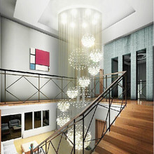 Modern living room 11 ball crystal chandelier penthouse floor staircase hall crystal lamp LED lights hanging wire Dia 60xH200cm(China (Mainland))