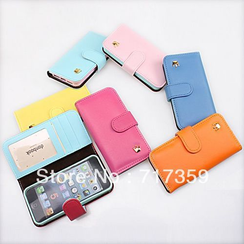7 Colors 1pc Free Shipping Wholesale Women's Wallet Flip Leather Cell Phone Covers Cases for iPhone 5   670123