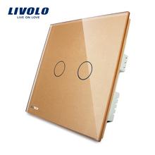 Hersteller, LIVOLO, Touch-schalter, VL-C302-63 mit led-anzeige, Goldene Glasscheibe, 110 ~ 250 V, 2-gang, nur UK standard(China (Mainland))