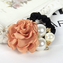 Ellegant Ribbon Flowers Simulated Pearls Decorating Alloy Elastic Hair Bands for Girls Headwear Hair Accessories for Women(China (Mainland))