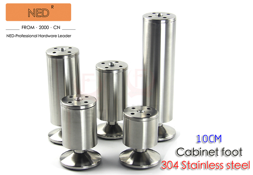 4PCS Brand NED 304 Stainless Steel 10CM Height Furniture Legs Cabinet TV Metal Foot Sofa Bed Table 50MM Diameter Feet With Screw(China (Mainland))