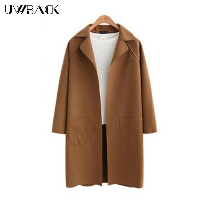 Uwback 2017 Spring Brand Women's Trench Coat Camel Long Wool Cloak For Women Casual Windbreaker Trench Femme OB300