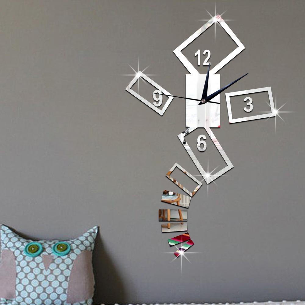 2016 3D bedroom living room wall clock poker mirror fashion pattern decorative home decor diy clocks reloj mural wall sticker(China (Mainland))