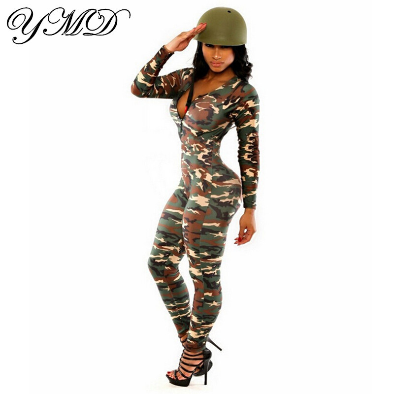fashion sexy women 39 s one piece camouflage jumpsuit bandage. Black Bedroom Furniture Sets. Home Design Ideas
