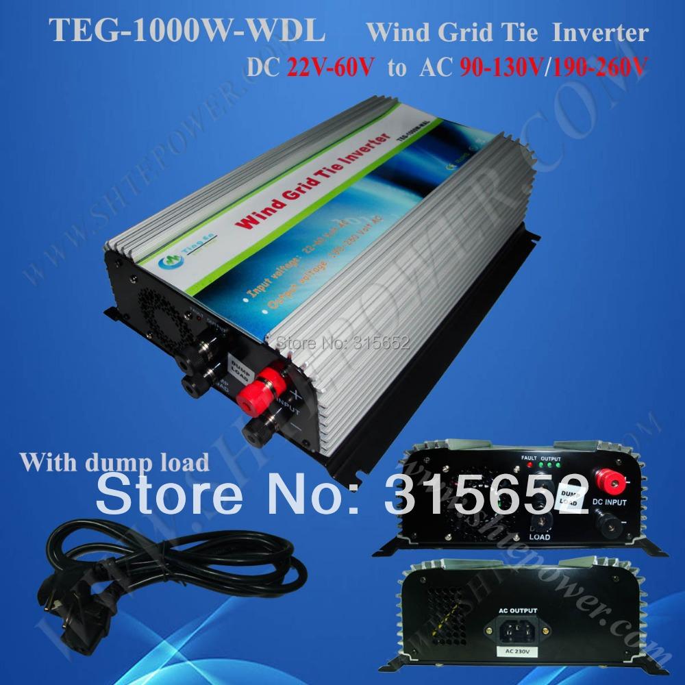1000W DC 22V-60V Input Grid Tie Wind Inverter With Dump load, Pure Sine Inverter(China (Mainland))