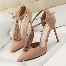 New Summer Autumn Pumps Fashion Tassel Sexy Thin High Heels Shoes Shallow Mouth Pointed Hollow T Strap Fringed Shoes G5196-2
