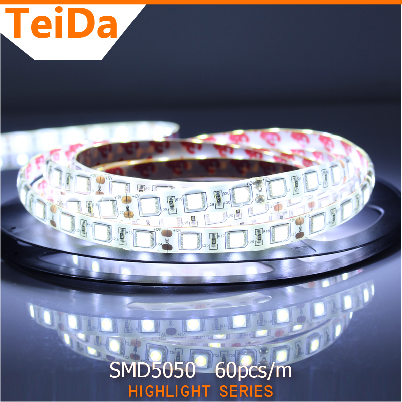 SMD5050 300Leds LED Strip High Brightness Light 5m Waterproof House Light Flexible Strips 60pcs/m DC12V Home Office LED Lights(China (Mainland))