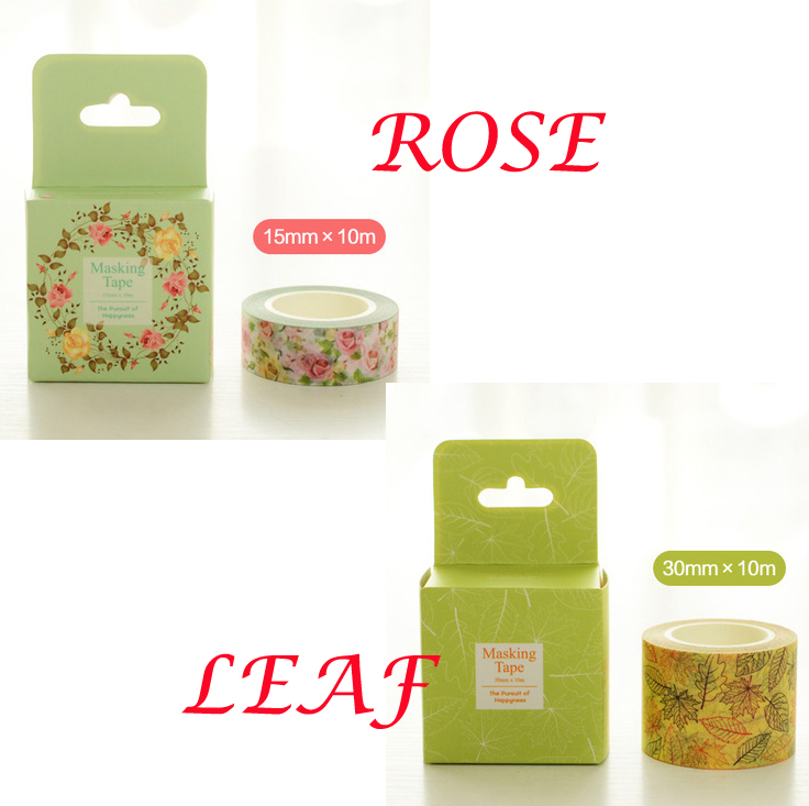 Free Shipping 15mm*10m/30mm*10m Beautiful Rose and Leaf Washi Tape /Box packing/ Adhesive Tape DIY Scrapbooking Masking Tape(China (Mainland))