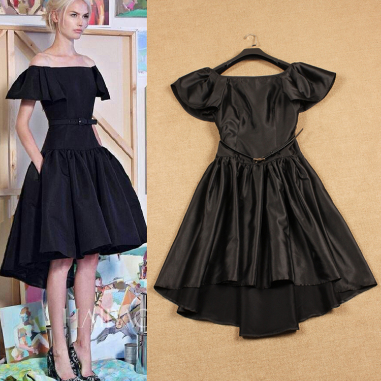 2015 Autumn Spring Fashion Runway European Christmas Short Butterfly Sleeve Ball Gown Evening Black / Red Dovetail Dress(China (Mainland))