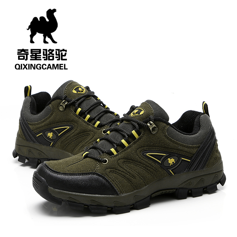 2014 spring autumn new men outdoor shoes camel leather low -top lace mesh casual hiking brand