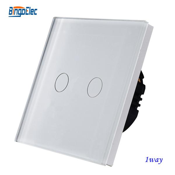2gang 1way white touch sensor smart switch,glass panel, EU/UK standard AC110-250V Free shipping(China (Mainland))