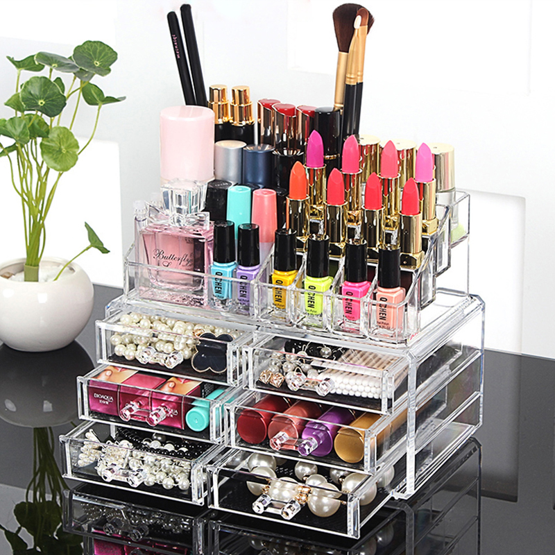 22 Compartments Cosmetic Organizer Clear Acrylic Makeup Organizer Bathroom Drawer Organizers Lipliners Storage Holders(China (Mainland))