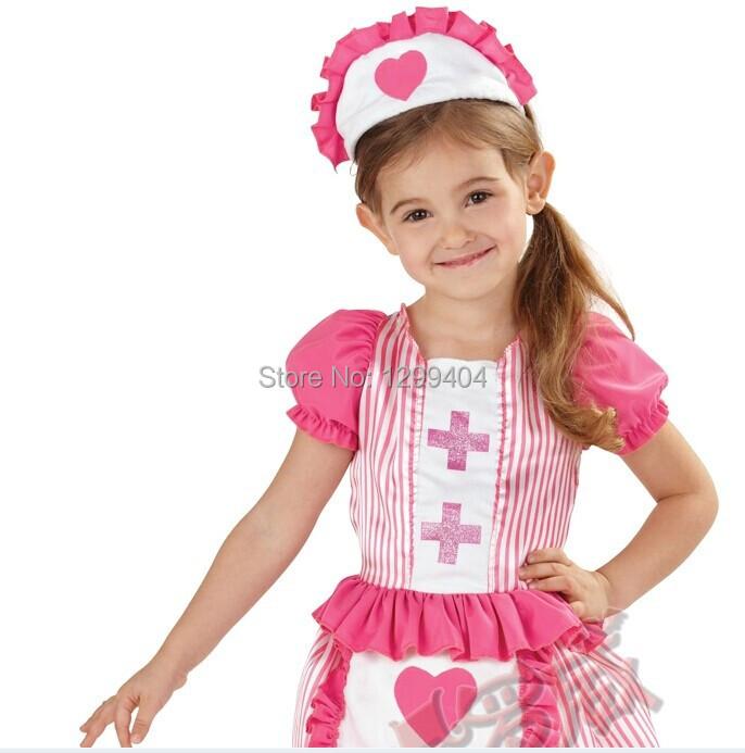 Cute Nurse Dress and Apron Girls Fancy Dress Uniform Kids Childrens halloween Costume Sweetheart Age 2-4 Years A1434(China (Mainland))