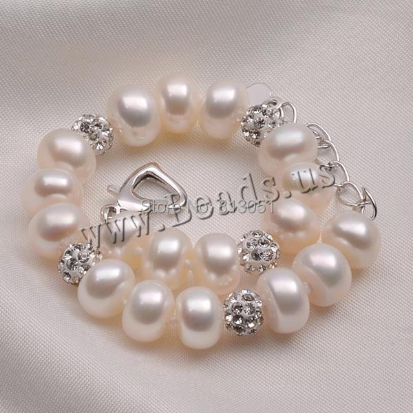 Free shipping!!!Freshwater Cultured Pearl Bracelet,Wholesale 2014 Jewelry, Freshwater Pearl, with Rhinestone Clay Pave Bead<br><br>Aliexpress