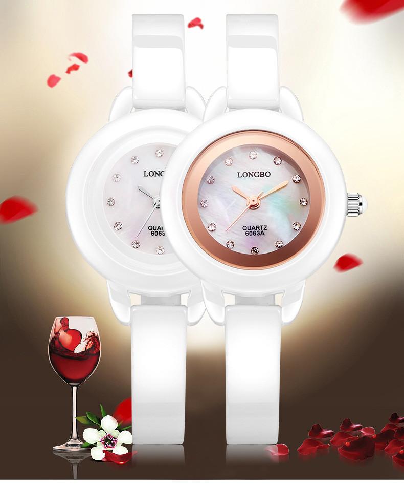 LONGBO Люкс Керамические Водостойкий Женщины Наручные Часы, Бесплатная Доставка Высокое Качество Леди Керамические часы Горный Хрусталь 6063A