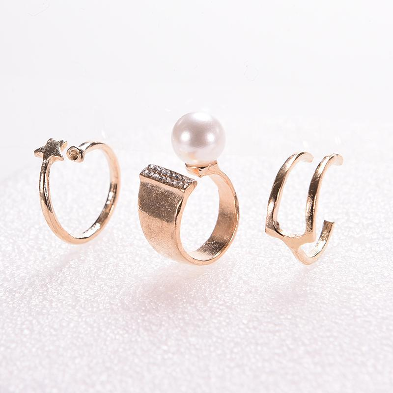 Big Simulated Pearl Rings Set Star Kunckle Rings Finger Rings For Women Fashion Jewelry Accessories Gold Sliver 3Pcs/lot(China (Mainland))