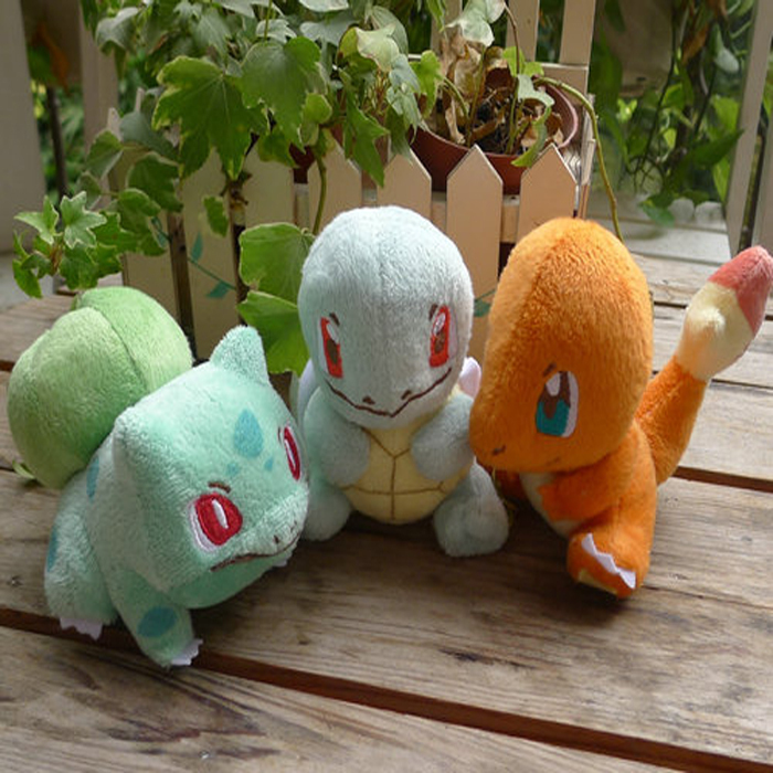 3pcs/lot Anime Pokemon Plush Toy Squirtle Charmander Bulbasaur Movie Plush Toy Soft Stuffed Animal Plush Doll(China (Mainland))