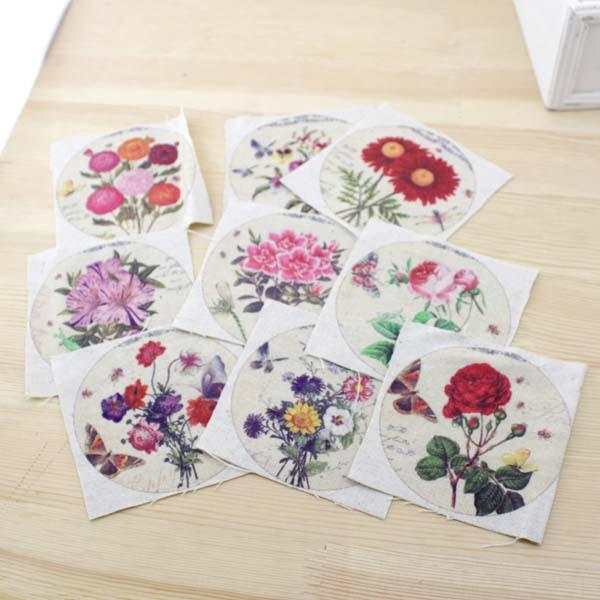 Vintage Small circular flower Hand dyed Digital printing cloth 10*10CM Thick cotton and linen DIY craft fabrics Bag handmade(China (Mainland))