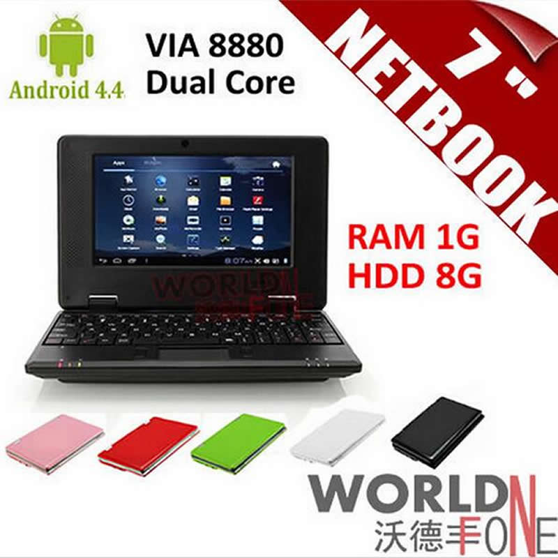 """7 inch 7"""" Netbook Mini Laptop VIA8880 Dual Core PC Android 4.4.2 Wifi 1G RAM 8G HDD HDMI (Russian Keyboard Option)(China (Mainland))"""