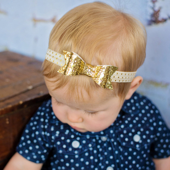 1 pieces New Cut Baby Glisten Bow Knot Headband Girls bow Elasticity headband infant Kids hair accessories free shipping W187