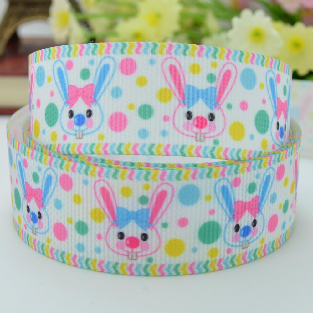 2015 Limited Sewing Supplies Ribbons Ribbon Easter Bunny Ribbed Bow Materials Wholesale 7/8 Printed Ribbon Cheap Cartoon(China (Mainland))