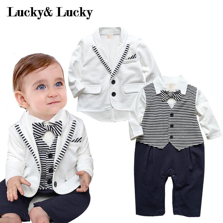 gentleman baby boy clothes white coat+ striped rompers clothing set newborn wedding suit(China (Mainland))