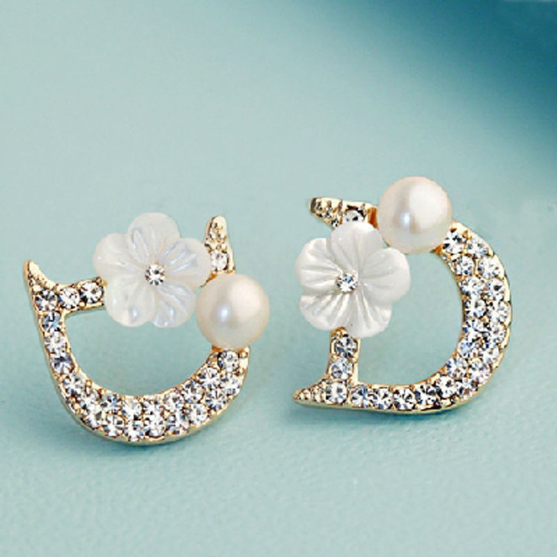 Cool 2015 Fashion Pearl Jewelry Sets For Women Imitation Gold Silver Crystal Earrings Necklace Set ...