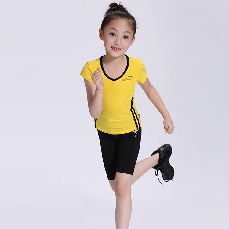 Hot!!New Fashion Children's Boys Girls Clothes Set Cotton Lycra Aerobics Gymnastics Sports Wear Gym Suit Asian/Tag Size 120-160(China (Mainland))