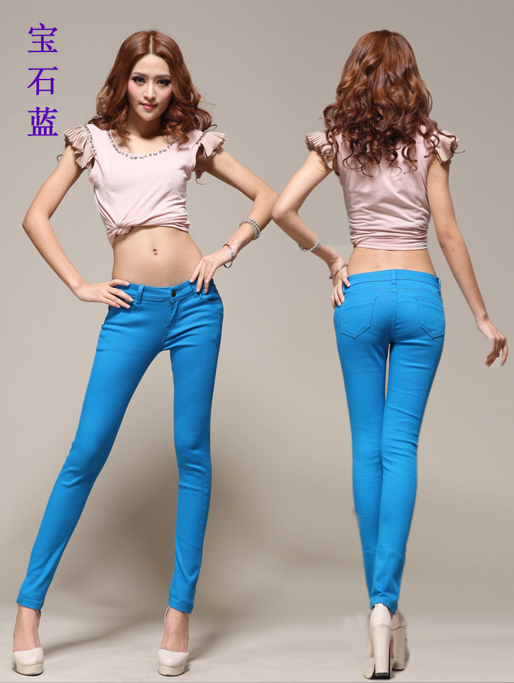 2014 New Candy Color Large Yard Stretch Denim Pants Feet Pencil 23 Color Loose Jeans Womens Jeans Skinny(China (Mainland))
