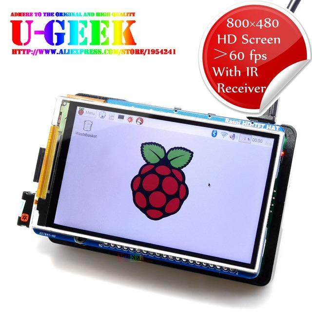 U 긱 라즈베리 파이 3.5 인치 800*480 TFT 스크린   HD 고속 LCD 모듈   3.5 ''디스플레이 라즈베리 파이 3B 2B B + 제로   지원 IR