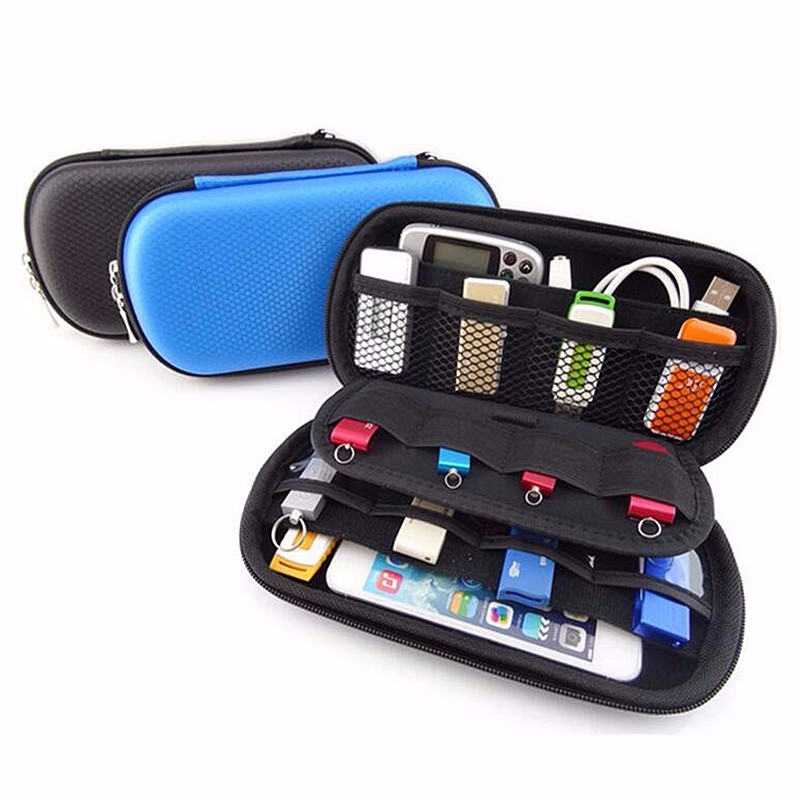Black Blue Digital Products Storage Box USB Cable Flash Drive Case Sundries Organizer Travel Waterproof Phone Headphone Pouch(China (Mainland))