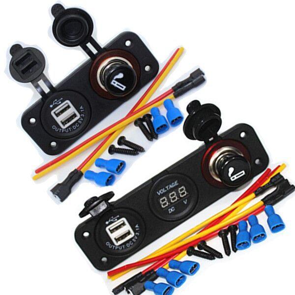 3 in 1 Waterproof 12V Car Cigarette Lighter Socket Power Panel Voltmeter For Camper Caravan Marine 12V USB 2.1A 1A(China (Mainland))