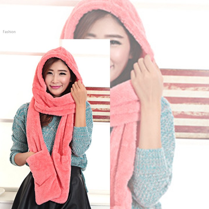 Autumn and Winter New Fashion Womens Plush Hat Scarf Gloves One piece Cap Warm Long Hooded Scarves Gloves Hats 25(China (Mainland))