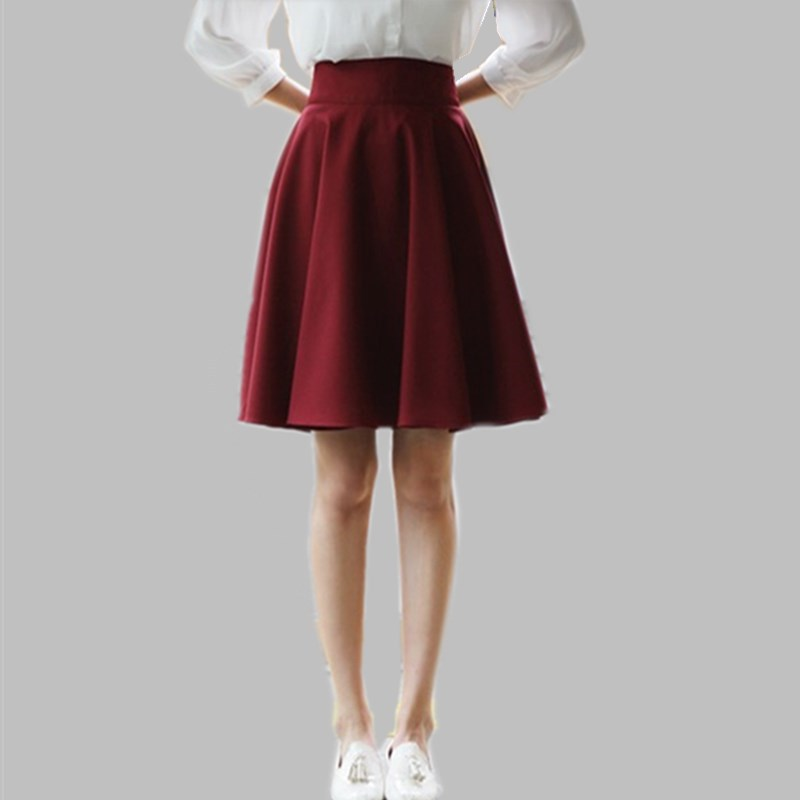 Pleated Skirt Women Autumn Winter Woolen Skirts Plus Size ...