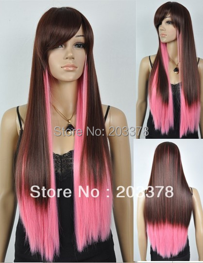 Brown and Pink Mixed Long Straight Wig FIBER 10pcs/lot mix order free shipping