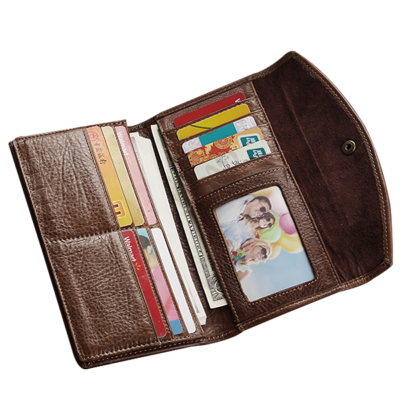 Hot! American and European Tri-fold Long Design Evelope Mens Wallets Genuine Leather Long Man Purses Credit Card Holder Purses(China (Mainland))