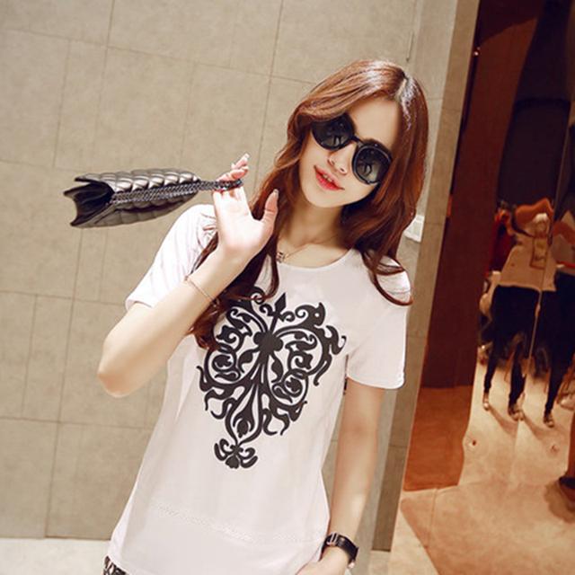 2016 женщин т футболка летние мода о-образным шею фарфор печатных вершины короткий рукав дна бесплатная доставка