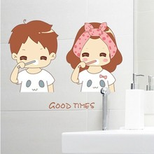 1 set 12*18 Inch Removable PVC Decals Good Times Tooth Brushing Bathroom Tile Decorative Waterproof Wall Stikcer(China (Mainland))