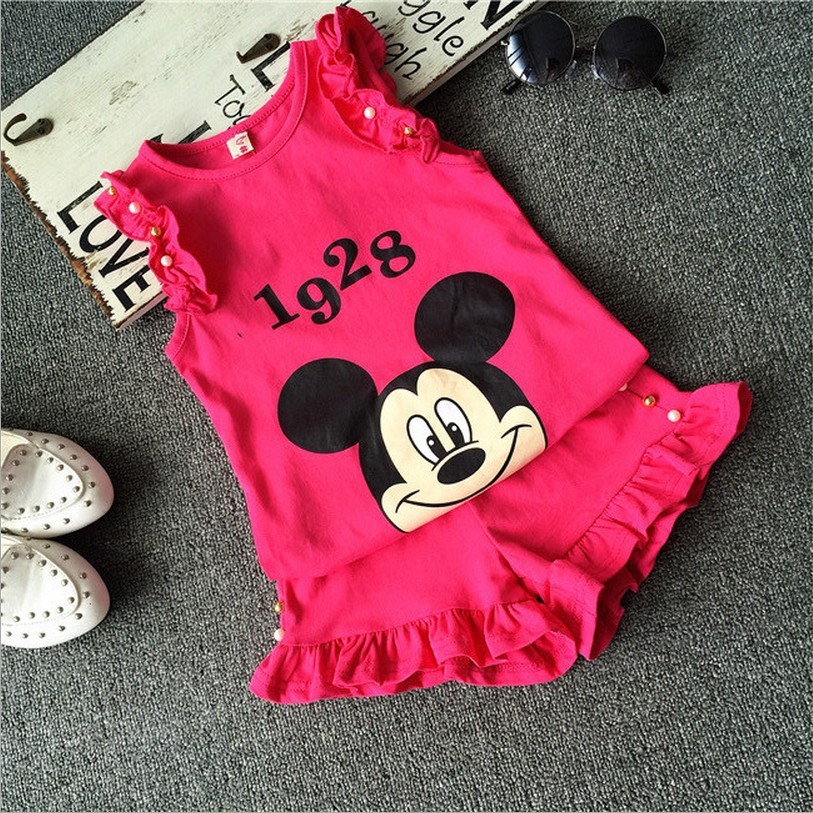 2016 Infant clothes toddler children summer baby girls clothing sets cartoon 2pcs Minnie mourse clothes sets girls summer set(China (Mainland))