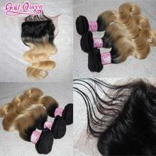 Hot Sell Brazilian virgin hair with closure 7a grade human hair ombre hair extensions 4pcs full lace closure with hair extension