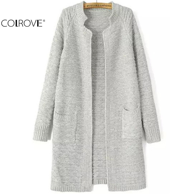 COLROVE Long Thick Cardigans Women New Designer Knitting Outwears Fashion Plain Stand Collar Pockets Knit Cardigan(China (Mainland))
