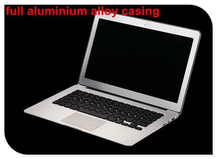 13.3inch Aluminium laptop notebook computer 4GB ram and 128GB SSD 8000mAh battery Intel celeron 1037U WIFI bluetooth