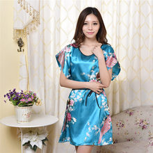 The explosion of silk nightgown lady short sleeved silk pajamas size thin summer clothes Home Furnishing(China (Mainland))