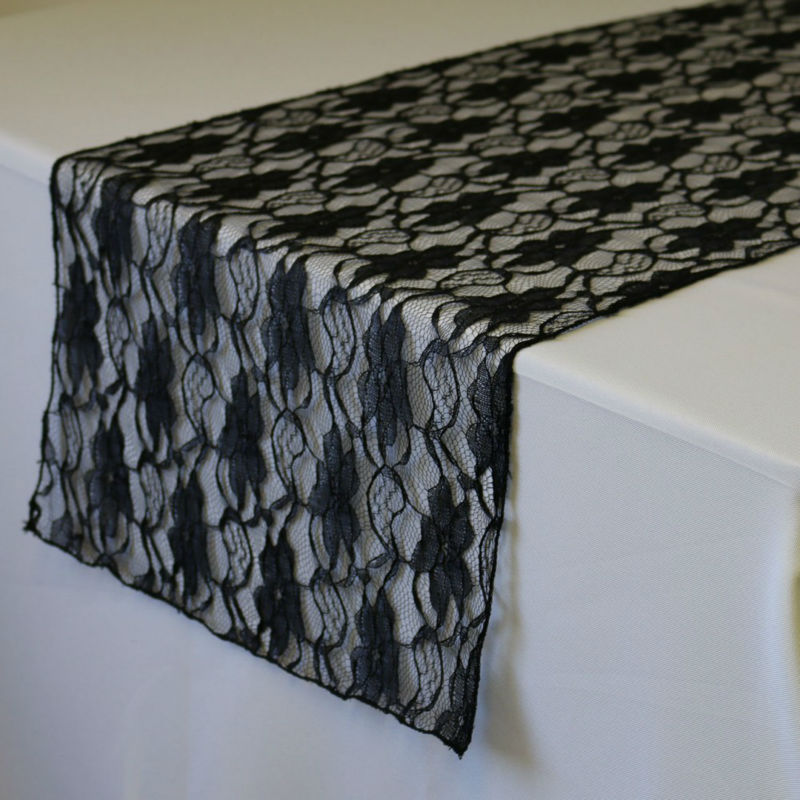 """Lace Table Runner Black 12x108"""" For Wedding Home Party Decoration Supply 20pcs shipping free(China (Mainland))"""