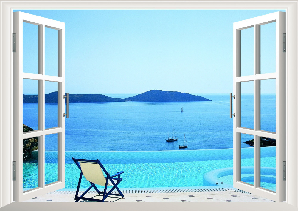 Sunshine beach chair resorts 3d window view removable wall for Beach window mural