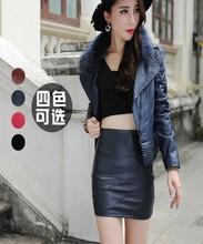 2016 autumn and winter New pattern Women's wear petticoat waist kilt leather fillibeg philabeg one step skirt tight skirt