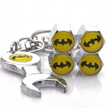 Free ship/New Hot Sale Car Wheel Tire Valve Caps with Mini Wrench & Keychain for Batman (4-Piece/Pack)(China (Mainland))