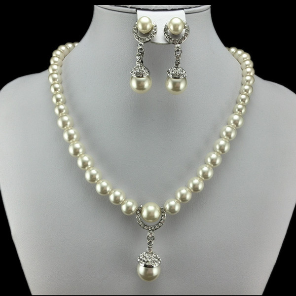 EEL Luxury Pearl Necklace/Earrings Jewelry Sets Women 18k Platinum Plated Zircon Crystal  -  fashion jewelry store store