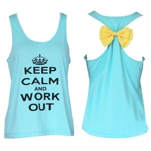 2015 Summer style Sexy Women Bow Sleeveless Summer Casual Sport Shirt Vest Tops Tank 1STL